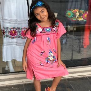 Mexican Coral Dress Girls Sz 4 Handmade Embroidery